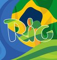 Abstract rio logo over Brasil national colors vector image vector image
