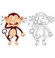 animal outline for monkey crying vector image vector image