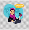 arab woman woman prepares documents on emigration vector image vector image