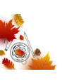 autumn concept coffee cup sketch and leaves vector image