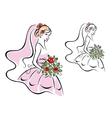 Beautiful woman in bridal dress vector image