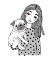 Beautiful young girl and a cute pug vector image
