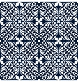 Blue and white floral arabesque seamless pattern vector image vector image