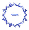 blue floral frame in russian traditional vector image vector image
