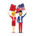 canada and america flag waving couple vector image vector image