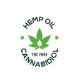 cbd hemp oil logo thc free medical hemp cannabis vector image vector image