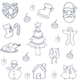 Christmas set flat of doodles vector image vector image