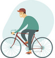 cyclist young man riding bicycle side view vector image
