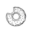 doodle bitten donut with glaze and powder vector image vector image