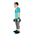 exercising man holding dumbells vector image vector image