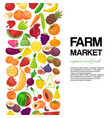 farm market with fruit and vegetables banner vector image vector image