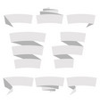 folded ribbon banner set collection grey label vector image vector image