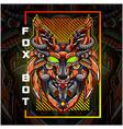 fox head robot esport mascot logo design vector image vector image