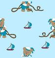 funny cartoon bear sailor vector image vector image