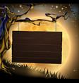 halloween tree sign background vector image vector image