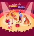 isometric circus performers background vector image vector image