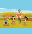 joyful disabled kids in wheelchairs playing vector image