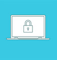 laptop with password notification and lock icon vector image vector image