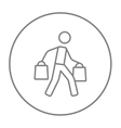 Man carrying shopping bags line icon vector image vector image