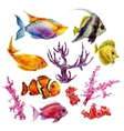 Marine set of Watercolor Tropical Fish vector image vector image