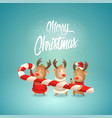 merry christmas - three reindeer friends vector image