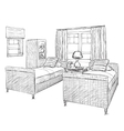 Modern double bedroom with furniture vector image vector image