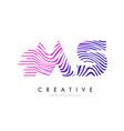 ms m s zebra lines letter logo design with vector image