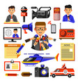 news icons of reporter cameraman vector image vector image