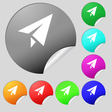 Paper airplane icon sign Set of eight multi vector image