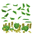 Pile a lot of coins and paper money dollar vector image vector image