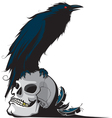 raven and skull vector image vector image