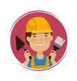 repair building logo happy builder with tools in vector image vector image