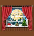 santa claus and his reindeer looks in room window vector image