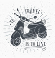 scooter motorbike vintage label hand drawn sketch vector image