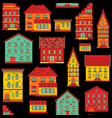 seamless flat house pattern-04 vector image vector image