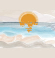 seascape painting with sunset and beach vector image vector image