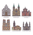 Set color isolated cathedrals line church