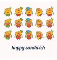 set of happy sandwich vector image vector image