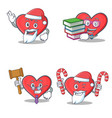 set of heart character with santa book judge candy vector image vector image