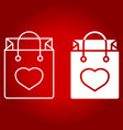 shopping bag with heart line and glyph icon vector image