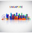 singapore skyline silhouette in colorful vector image vector image