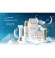 skin care cream night series jar spray vector image vector image