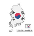 south korea map and flag modern simple line vector image vector image