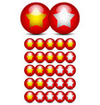 star rating graphics with gold stars on red balls vector image vector image