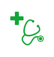 stethoscope and silhouette a cross first aid vector image vector image