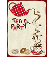 Tea party invitation with teapot and teacup vector image vector image