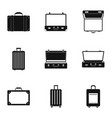 travel briefcase icon set simple style vector image vector image