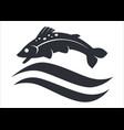underwater animal fish above wave silhouette black vector image