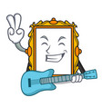 with guitar picture frame mascot cartoon vector image vector image
