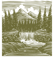 Woodcut Waterfall Wilderness vector image vector image